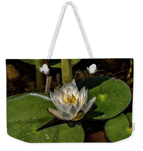 Radiant White Pond Lily  Weekender Tote Bag