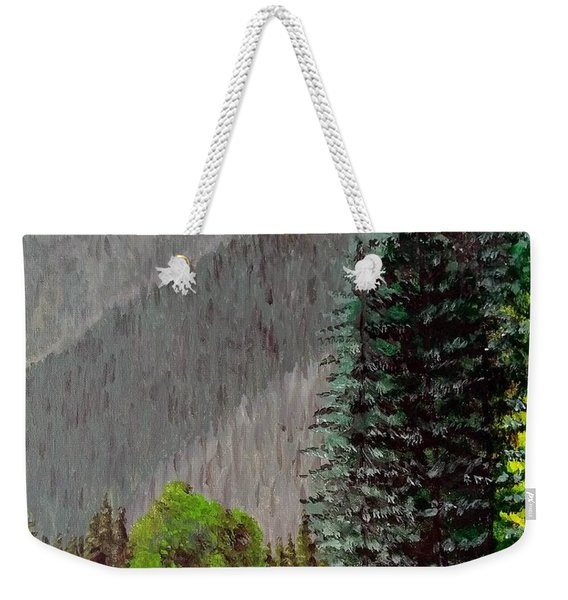 Weekender Tote Bag featuring the painting Rafting The Gallatin by Kevin Daly
