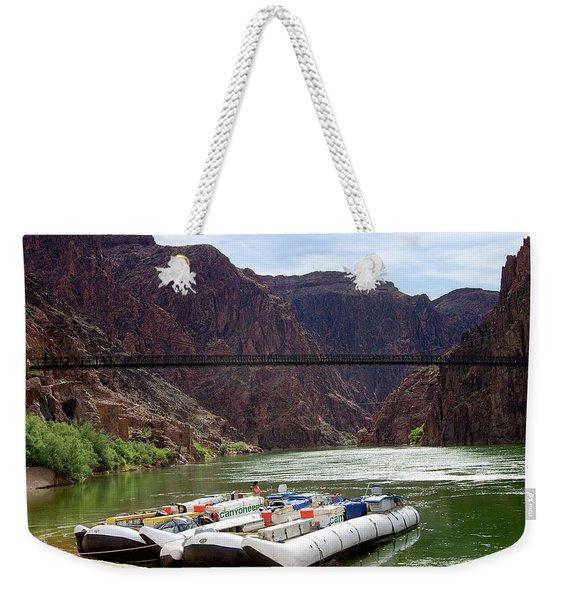 Rafts With Black Bridge In The Distance Weekender Tote Bag