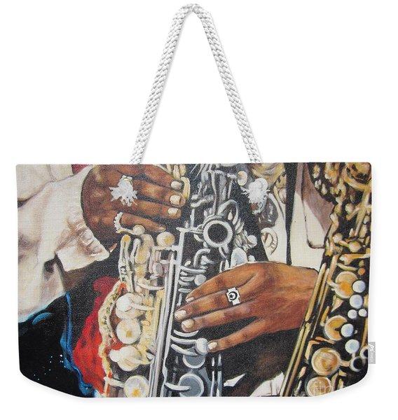 Blaa Kattproduksjoner.      Jazzed  Weekender Tote Bag