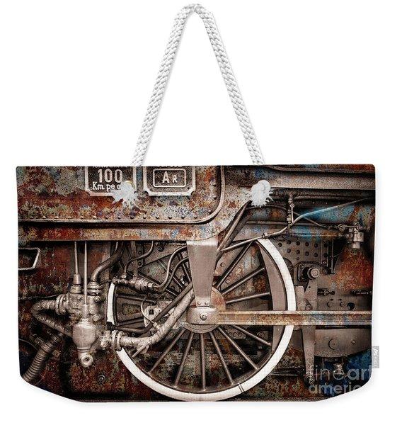 Rail Wheel Grunge Detail,  Steam Locomotive 06 Weekender Tote Bag