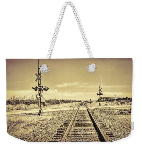 Railroad Crossing Textured Weekender Tote Bag
