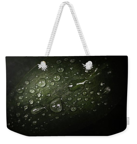 Rain Drops On Leaf Weekender Tote Bag