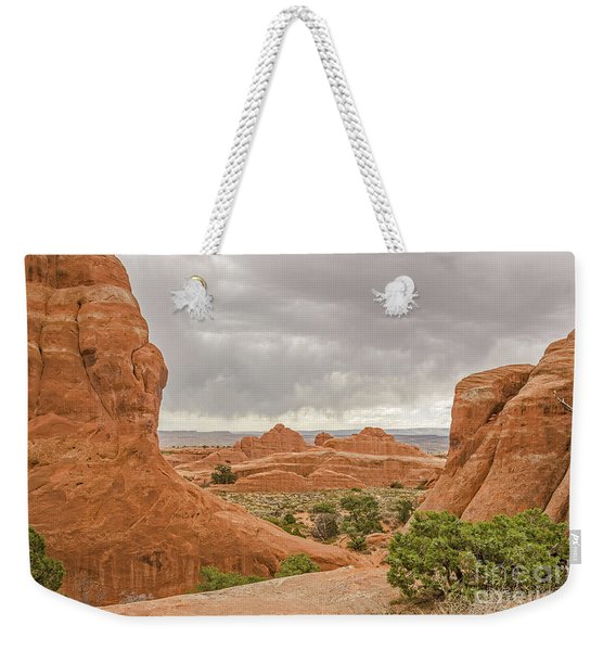 Rain In The Distance At Arches Weekender Tote Bag