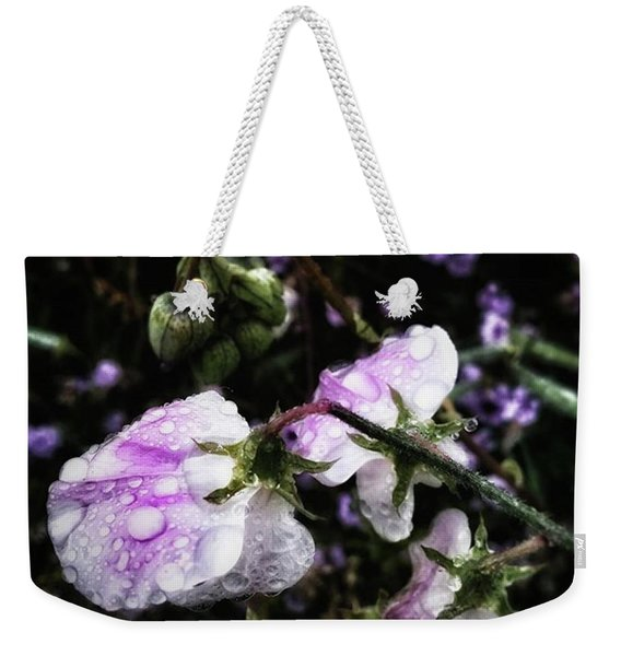 Weekender Tote Bag featuring the photograph Rain Kissed Petals. This Flower Art by Mr Photojimsf
