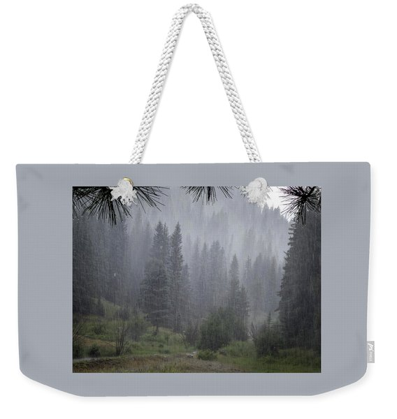 Weekender Tote Bag featuring the photograph Rain Lovely Rain by Mary Lee Dereske