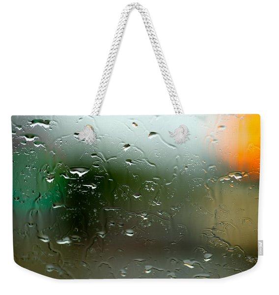 Rain Soaked Glass Window Weekender Tote Bag