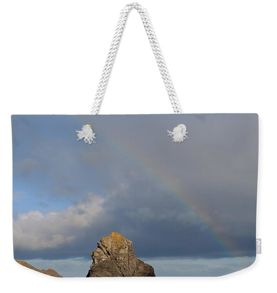 Rainbow Above Sango Bay Sea Stack Weekender Tote Bag