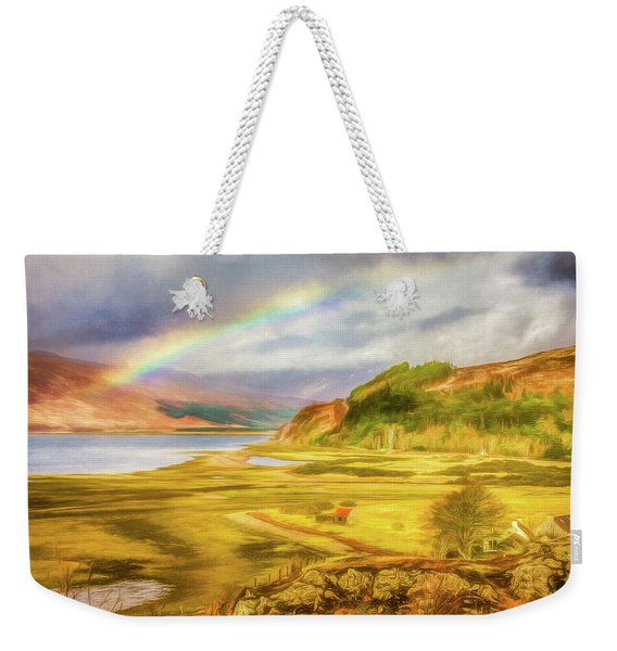 Weekender Tote Bag featuring the photograph Painted Effect - Rainbow Across The Valley by Susan Leonard