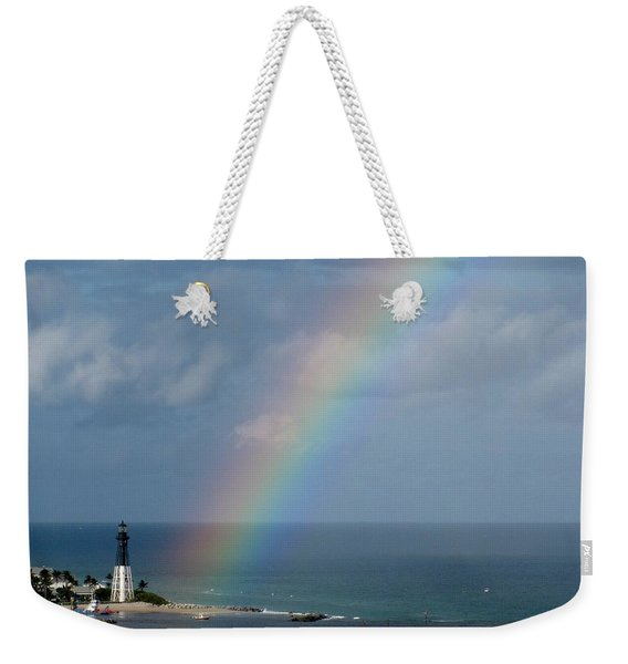 Rainbow At Hillsboro Lighthouse Weekender Tote Bag