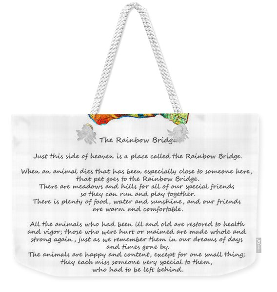 Rainbow Bridge Poem With Colorful Paw Print By Sharon Cummings Weekender Tote Bag