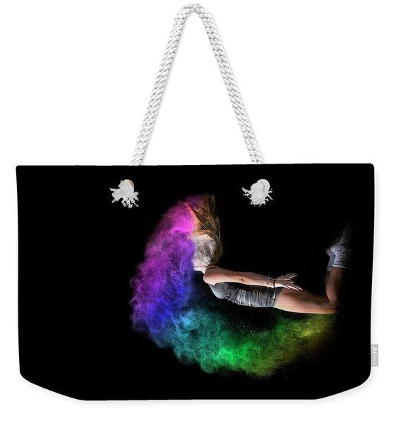 Rainbow Crescent Weekender Tote Bag