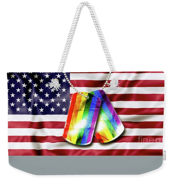 Weekender Tote Bag featuring the photograph Rainbow Dog Tags by Benny Marty