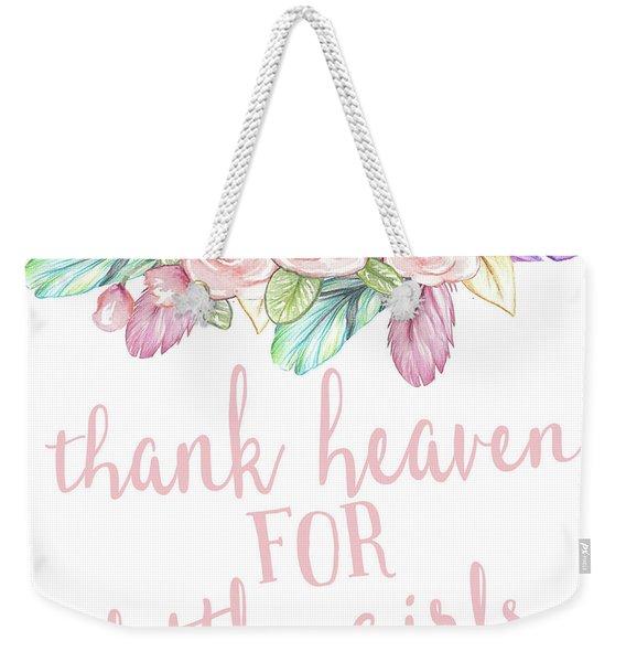 Rainbow Feather Tribal Thank Heaven For Little Girls Nursery Wall Art Throw Pillow Weekender Tote Bag