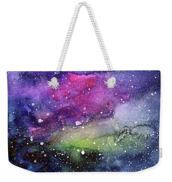Rainbow Galaxy Watercolor Weekender Tote Bag