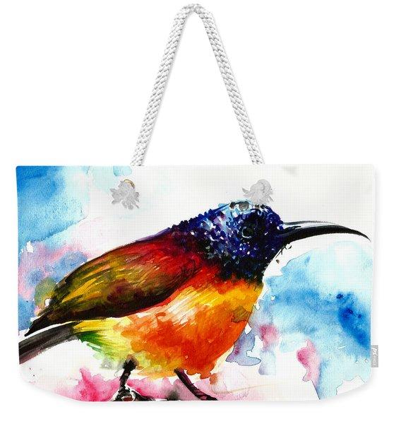 Rainbow Hummingbird Watercolor Weekender Tote Bag