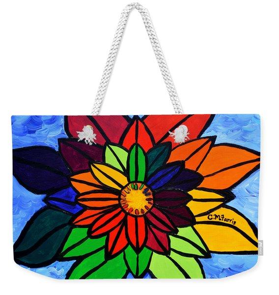 Rainbow Lotus Flower Weekender Tote Bag