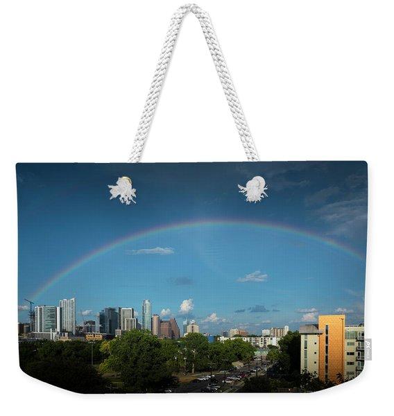 Rainbow Over Austin Weekender Tote Bag