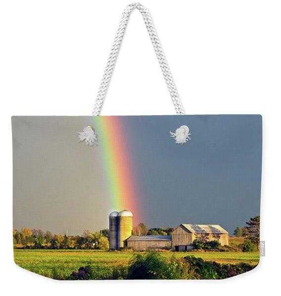 Rainbow Over Barn Silo Weekender Tote Bag