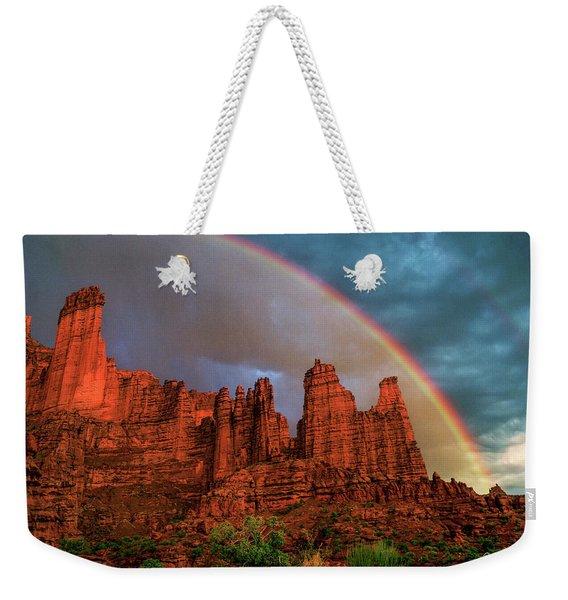 Rainbow Over Fisher Towers Weekender Tote Bag