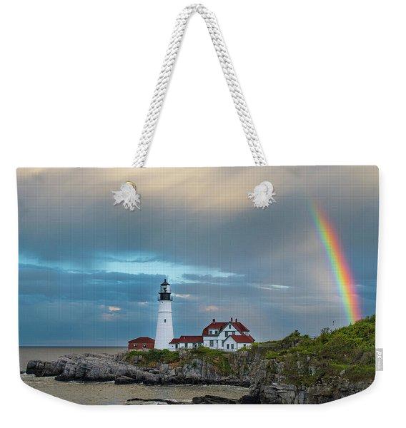 Rainbow Over Portland Head Light Weekender Tote Bag