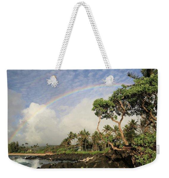 Rainbow Over The Beach Weekender Tote Bag
