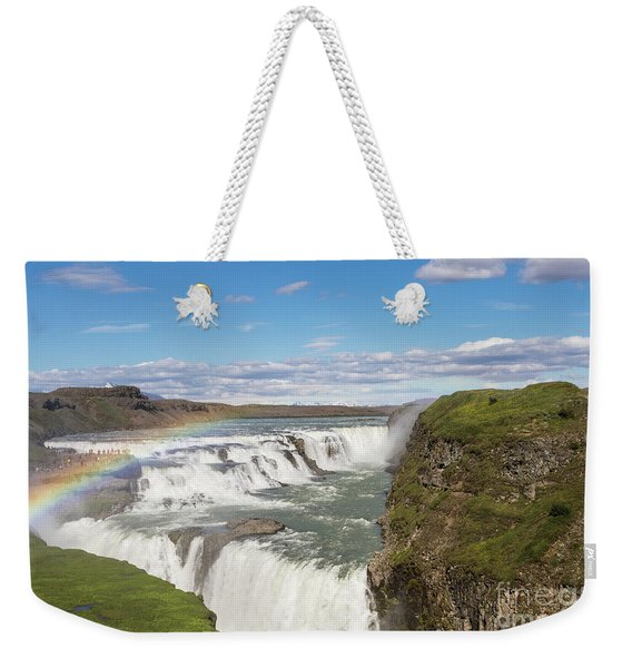 Rainbow Over The Gullfoss Waterfall In Iceland Weekender Tote Bag