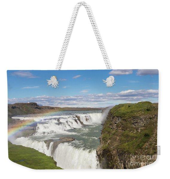 Rainbow Over The Gullfoss Waterfall In Iceland Weekender Tote Bag