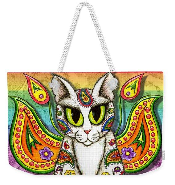 Rainbow Paisley Fairy Cat Weekender Tote Bag