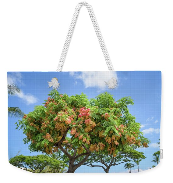 Weekender Tote Bag featuring the photograph Rainbow Shower Tree 1 by Jim Thompson