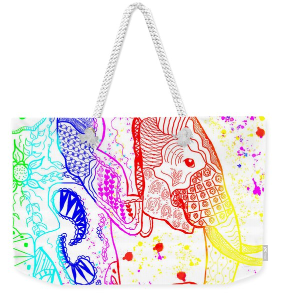 Rainbow Zentangle Elephant Weekender Tote Bag