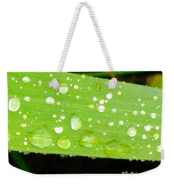 Raindrops On Leaf Weekender Tote Bag