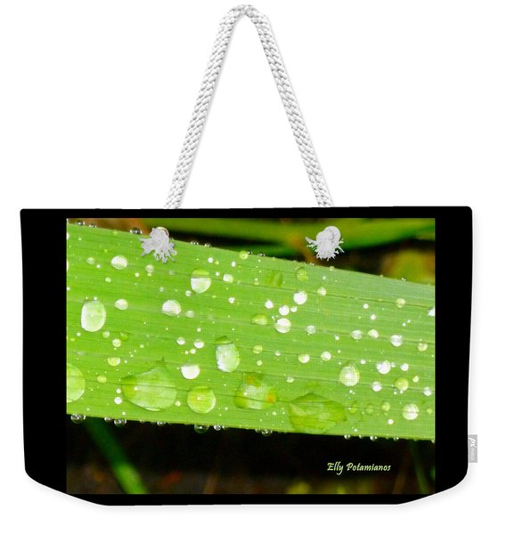 Raindrops On Leaf Weekender Tote Bag