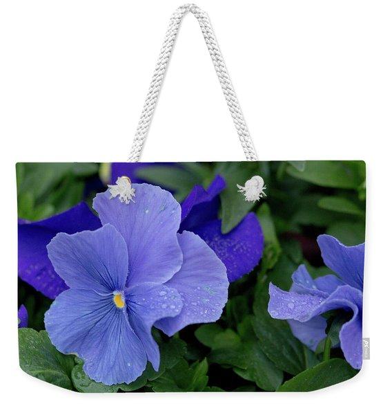 Raindrops On Purple Pansy Weekender Tote Bag