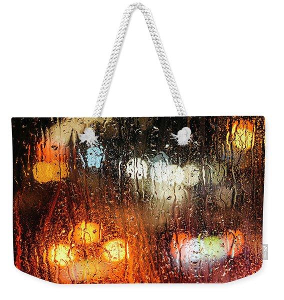Raindrops On Street Window Weekender Tote Bag