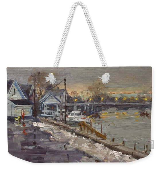 Rainy And Snowy Evening By Niagara River Weekender Tote Bag