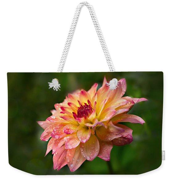 Rainy Dahlia Weekender Tote Bag