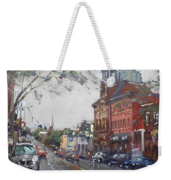 Rainy Day In Downtown Brampton On Weekender Tote Bag