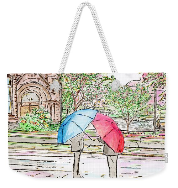 Rainy Day In Downtown Worcester, Ma Weekender Tote Bag