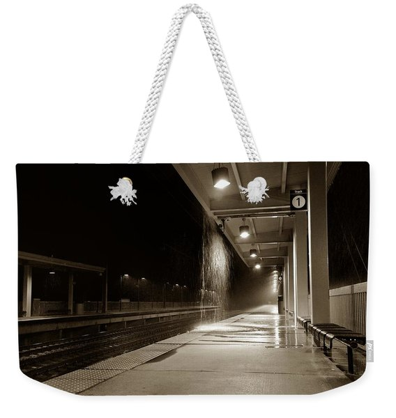 Weekender Tote Bag featuring the photograph Rainy Night In Baltimore by Ron Cline