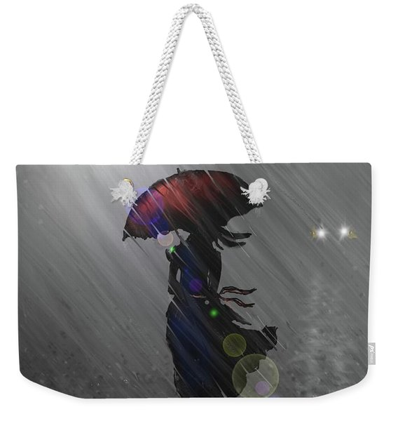 Rainy Walk Weekender Tote Bag