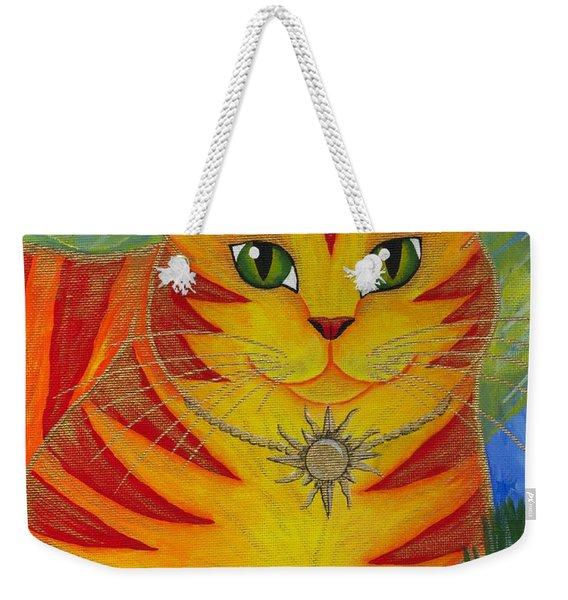 Rajah Golden Sun Cat Weekender Tote Bag