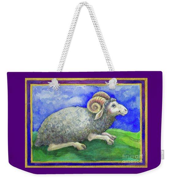 Weekender Tote Bag featuring the painting Ram by Lora Serra
