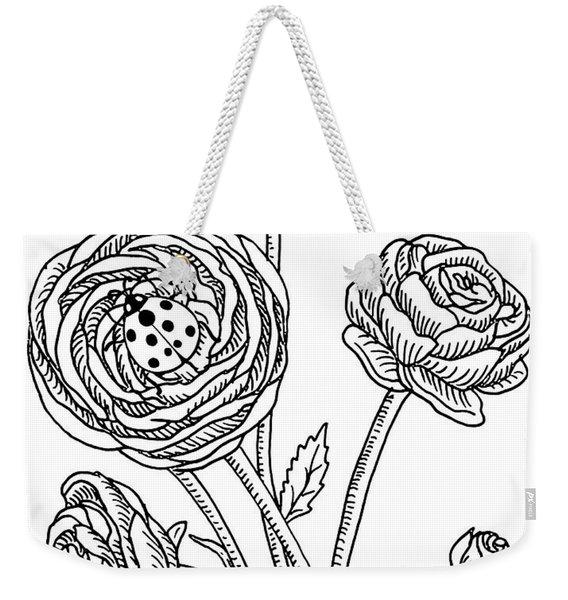 Ranunculus Flower And Ladybugs Drawing  Weekender Tote Bag