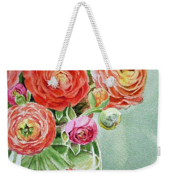 Ranunculus In The Glass Vase Weekender Tote Bag