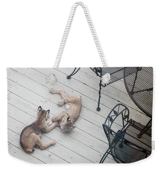 Weekender Tote Bag featuring the photograph Wrestling Lynx by Tim Newton