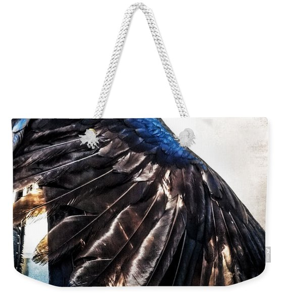 Weekender Tote Bag featuring the photograph Raven Attitude by Carolyn Marshall