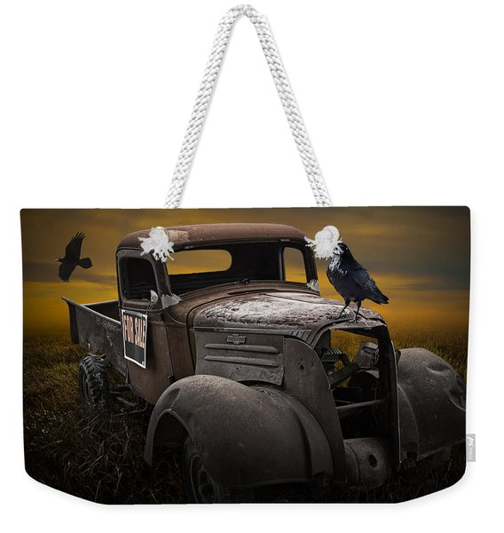 Raven Hood Ornament On Old Vintage Chevy Pickup Truck Weekender Tote Bag