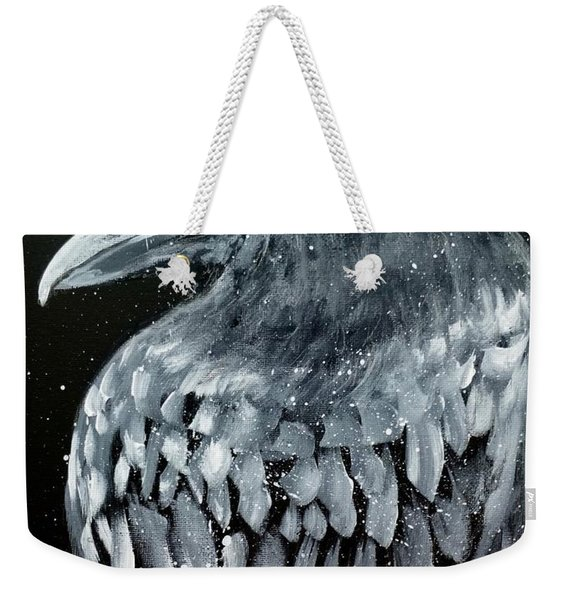 Raven In Snow Weekender Tote Bag