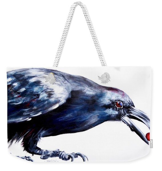 Raven With Berry Weekender Tote Bag